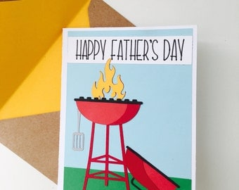 BBQ Grill Father's Day Card, Grill Master Card for Dad, Fun Card for Dad,
