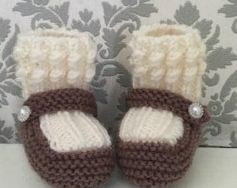 Hand Knitted Merino Baby Booties