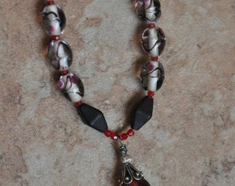 Red White and Black necklace
