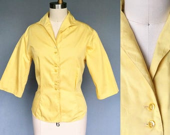good hair / late 1950s bright yellow button down blouse / large