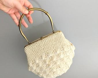 afternoon tea / 1950s morris moskowitz white crochet straw bag