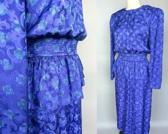 peplum / 1980s blue silk dress with peplum by maggy london / 8 10 medium