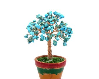 Blue Turquoise Wire Tree Blue Gemstone Wire Sculpture Life of Tree Gift Lucky Tree Feng Shui Decor Tree Bonsai Yoga Healing Meditation Decor