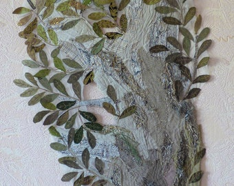 Nature mini quilt Olive tree art quilt Unusual textile art Old olive branch Quilted wall hanging Southern tree Greek nature Texture Wall Art