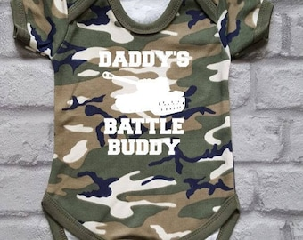 Army Baby Grow, Camo Baby Vest, Military Baby Clothes, Combat Baby, Armed Forces Baby Bodysuit, Daddy's Battle Buddy, Baby Shower Gift,