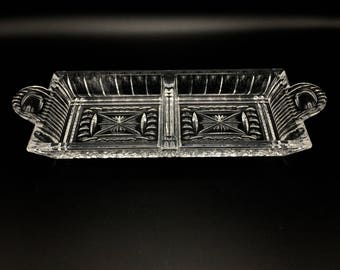 Waterford Etched Crystal Lismore 2-Part Sectional Rectangular Serving Dish/Tray or Platter. Cut Crystal Giftware for appetizers, candy, nuts