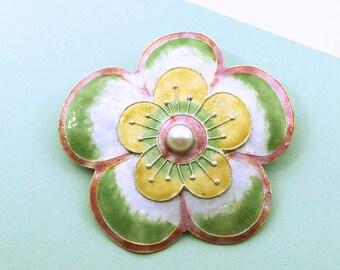 Glass Enamel and Pearl Flower Brooch, Vintage Flower Pin, Glass Enamel on Silver, Green Flower, Modern Flower Jewelry, Wearable Art