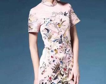 Short Sleeve Qipao Embroidered Mandarin Dress (Black, Pink or Green)