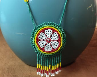 Native American Amulet Seed Bead Necklace