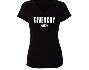 Givenchy Paris Inspired Fitted V Neck Shirt