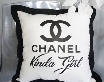 Chanel Kinda Girl 18x18 Decorative Graphic White Pillow or Pillow Cover with Euro Style Black Trim Glitter Option