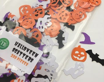 Scary HALLOWEEN Table Scatters 200pcs - Spooky Bats, Hats, Ghosts & Pumpkins