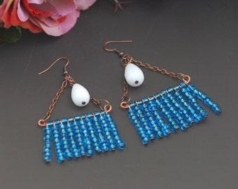 Rustic hoop earrings Copper wire earrings Minimalist copper hoops Handmade Copper Earrings Copper Jewelry Wire Earrings Hammered Copper