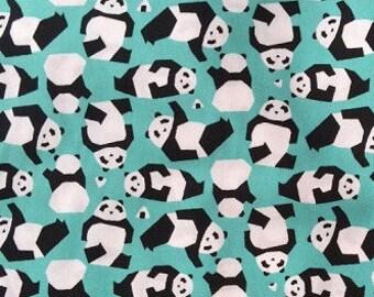 Pandas on Turquoise, Sevenberry, Japanese Import Fabric, 100% Cotton Sheeting Fabric