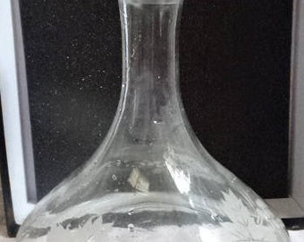 Etched Glass Decanter/Red Wine/White Wine/Brandy/Rayware/Vintage/1980s
