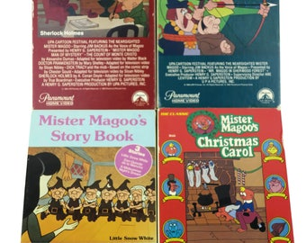 Vintage 80's Lot 4 BETA Betamax Tapes - Mister Magoo's Christmas, Man of Mystery, Sherwood Forest & Story Book Mr. Magoo Classic Cartoon