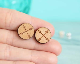 Laser Cut Wood Circle With Crossing Arrow Earring Studs