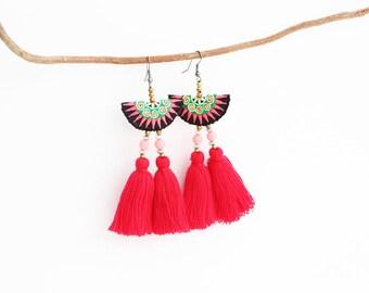 Hot Red Tassel Earring With Beads Women Jewelry