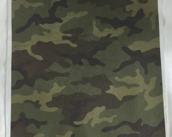 "12""x12"" Camouflage Printed Leather"