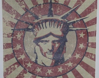 """12""""x12"""" Distressed Lady Liberty Printed Leather"""