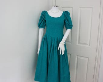 Laura Ashley dress, midi dress, 80's ball gown, prom dress, prom gown, evening dress, petite dress ,circle dress, vintage wedding