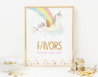 Unicorn favors sign, Unicorn party favors sign, Printable unicorn sign, 1st birthday party sign, 8x10 party sign birthday sign unicorn decor