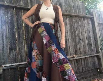 70s patchwork maxi skirt high waist