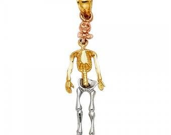 14K Solid Yellow White Rose Gold Skeleton Pendant - Skull Body Bone Necklace Charm