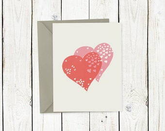 Double heart A2 notecard, stationery, Valentine's Day card, blank inside