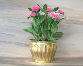 Vintage  Brass Planter Round Brass pot,Round brass planter , Perfect for Indoor,Patio and outdoor plant,