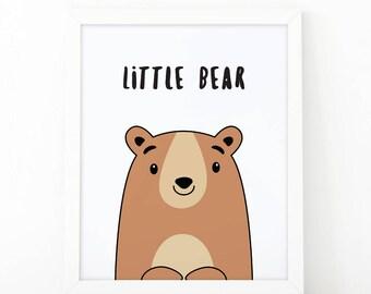 Little bear, Nursery Wall art, bear printable, nursery decor, kids room decor, tribal nursery, quote printable, little man cave, bear cub