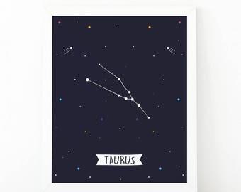 Taurus Print, taurus constellation, Zodiac Constellation, zodiac Wall Art, Astrology Poster, Digital print, printable art, Nursery wall art