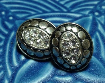 vintage rhinestone earrings, clip earrings, oval earrings