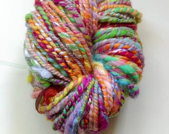 "Hand spun 2 ply art yarn in ""Rainbow Harbor"""
