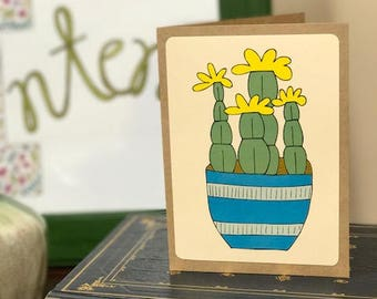 Yellow Succulent Note Card