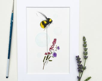 Original bee painting | British bee print, wild flower print, bee illustration, botanical print, insect print, watercolour bee painting