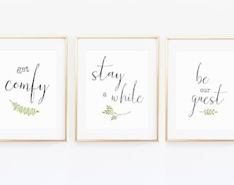 Guest Room Trio, Stay A While, Be Our Guest, Guest Room Printable Wall Art