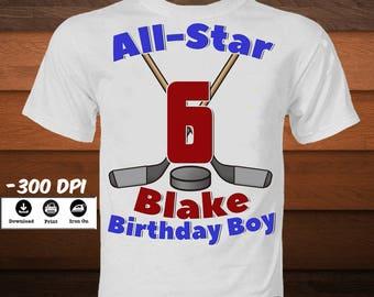 DIY Hockey Iron on Transfer Shirt-Printable Birthday Hockey Player Shirt-Personalized Hockey Stick and Puck Transfer Image-DIGITAL  IMAGE