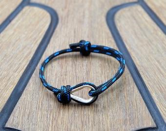 Handmade Customized Nautical Sailing Bracelet 925 Silver black blue color | Personalized Men present | Adjustable size, Unisex