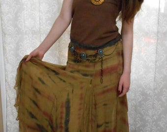 Festival Dress, Brown Hippie Dress, Brown Tribal Dress, Brown Hippie upcycled dress, Boho autumn gown, Festival clothing, Wearable Art Dress