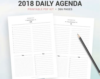 2018 DAILY AGENDA, 2018 printable daily PLANNER, 366 pages, day on 1 page, DO1P, A5, A4, Letter & half size