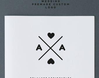 PREMADE WEDDING LOGO Design logo custom wedding design logotype graphic initials monogram wedding blog design