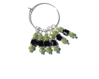 6PC. Lime and Black AB Austrian Crystal Bead Dangle Charm//Handmade AB Crystal Dangle Charms//Adorned with  Silver Tone Plated Accents//