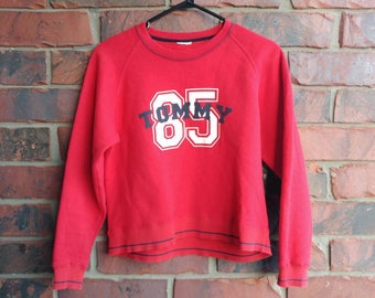 Vintage Tommy Cropped Sweater 1990s Tommy Hilfiger Croptop Crewneck Sweatshirt