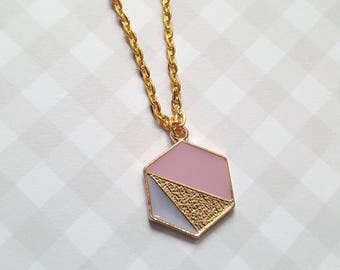 Hexagon necklace, Geometric necklace, Geometric pendant, Geometric jewellery, Pendant necklace, Hexagon, Geometric, Dusty pink, Purple