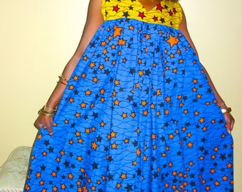 African Print Dress, African Clothing,  Dashiki, Robe Wax, Midi Dress, Blue Dress, African Dashiki, African Plus Size