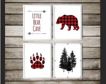 A4,Buffalo Plaid Nursery,Animal Print,DIGITAL DOWNLOAD,Red Plaid,Nursery gift,Bear Print,Nursery  Art,lumberjack,nature, art,buffalo plaid