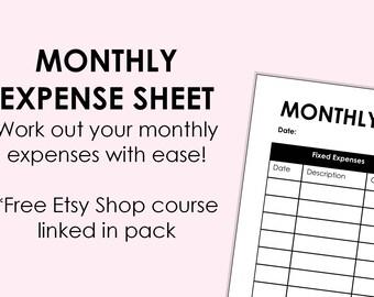 expense sheet printable