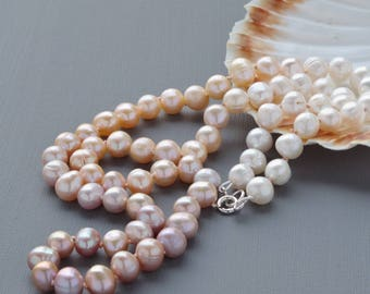 Modern Ombre Freshwater Pearls Hand Knotted on Silk Flapper Style Traditional Necklace With Sterling Silver Clasp Graded White Peach Mauve