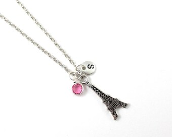 EIFFEL TOWER charm necklace, Eiffel jewelry, personalized necklace, initial necklace, birthstone jewelry, initial jewelry, personalized gift